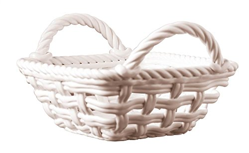 9 in. Square Hand Woven Serving Basket with Handles - - Ceramic Baskets Bread