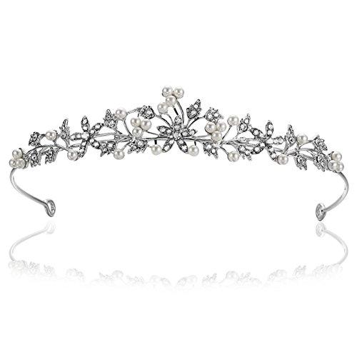 - Flower Leaf Faux Pearl Rhinestone Crystal Bridal Tiara Crown T881