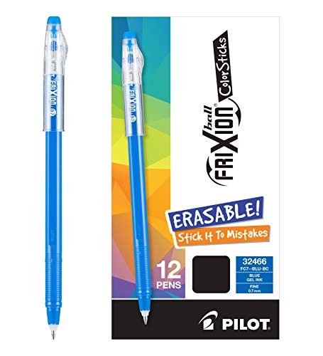 (PILOT FriXion Color Sticks Erasable Gel Pens Dozen Box Blue 12 pk; Make Mistakes Disappear, No Need For White Out. Smooth Lines to the End of Page, America's #1 Selling Pen Brand)