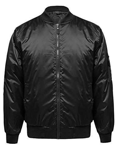 Fur Lined Bomber Jacket - Classic Style Cotton Based Zip Up Bomber Jacket Black XL