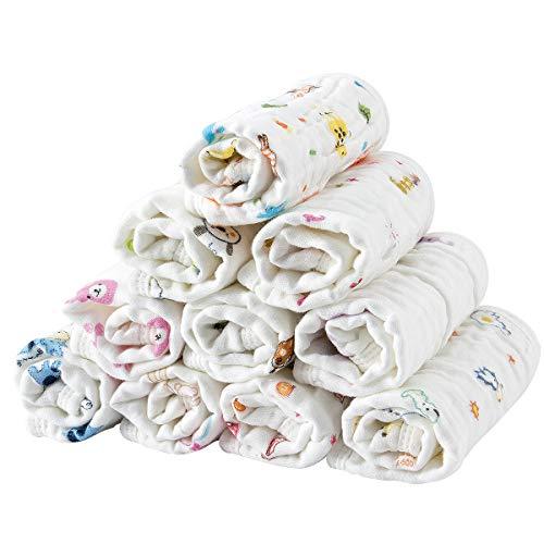 Madholly 10 Pieces Baby Muslin Washcloths Set, 11.8