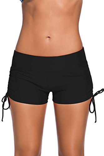 Aleumdr Women's Boardshort Bottom Shorts Swimming Panty Medium Black(FBA)