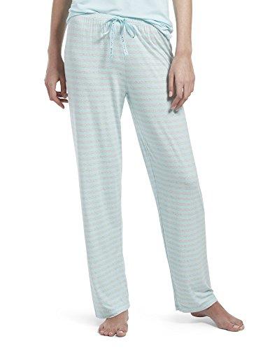 - HUE Women's Printed Knit Long Pajama Sleep Pant, Plume/Stripe Magic, Large