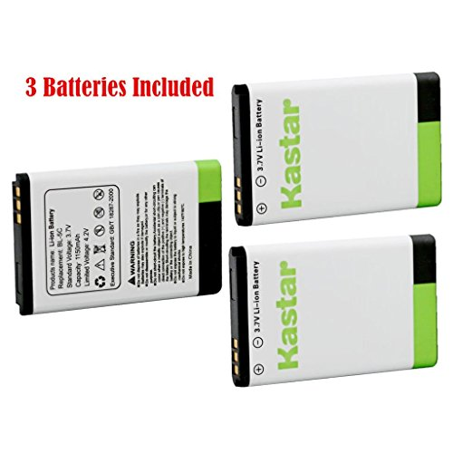 Kastar BL-5C Battery (3-Pack) for NOKIA 1100,2112,2270,2280,2285,2300,2600,2850,3100,3105,3120,3600,3620,3650,3660,5140,6108,6280,5030,5130,6030,6085,6086,6230,6230i,6267,6270,6555,6600,6630,6670,6680,6681,6820,6822,7600,7610,E50,E60,N70,N70 MusicEdition,N71,N72,N91,N91 8GB,N-Gage,XpressMusic,Degen and Meloson Portable AM/FM Radio --Supper Fast and Free Shipping from USA