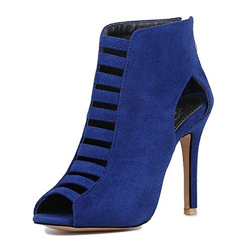 Easemax Delle Donne Sexy High Top Ritaglio Finto Camoscio Peep Toe Tacco A Spillo Alto Zip Up Boot Sandali Blu