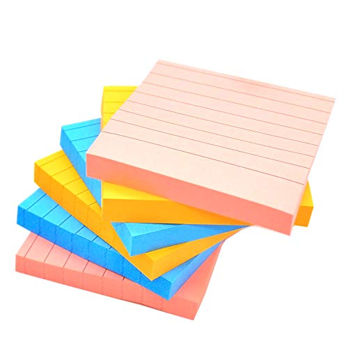 Sticky Notes with Lines 3 inch X 3 inch Assorted Bright Color Lined Self-Stick Notes, 100Sheet/Pad 6 Pads/Pack Easy Post Individual Package