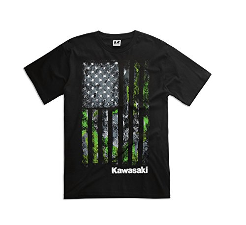 KAWASAKI CAMO FLAG T-SHIRT BLACK MENS LARGE