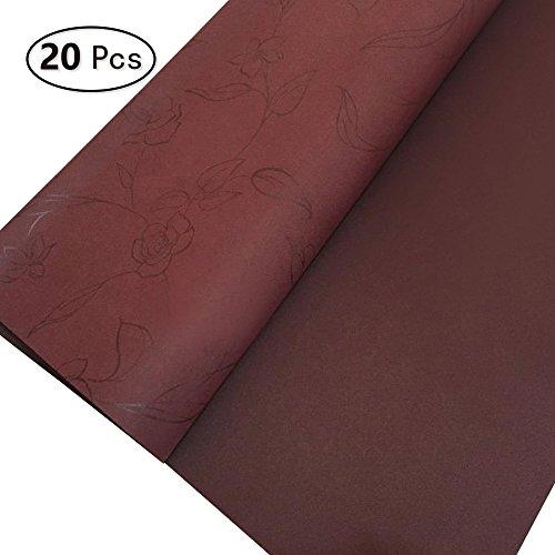 Zhi Jin papier mat papier cadeau Art Fleur Rose Ensemble de papier d'emballage pour Vacances Mariage 20feuilles/Lot rouge vin