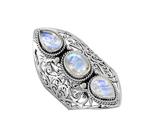 YoTreasure Moonstone Solid 925 Sterling Silver 3 Stone Ring