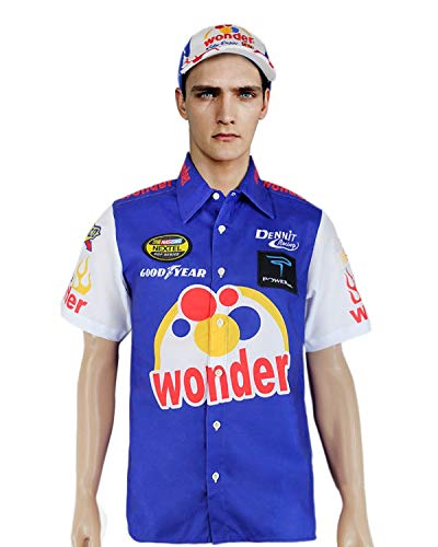 Ricky Bobby Nascar Shirt Talladega Nights Crew + #26 Wonder Bread Cap hat (L) Blue/White -