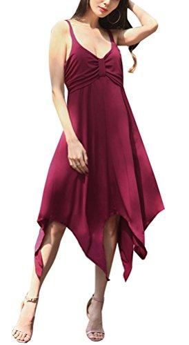 Xx abierta mujer Large para Burgundy 5 Red de espalda Vestido ZnHY7