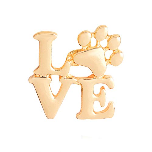 Dwcly Love Pet Paw Foot Print Pins Pawprint Brooch Puppy Love Gifts Memorial Jewelry Keepsake Jewelry (Gold)