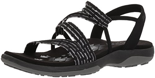 Skechers Women's Reggae Slim-Stretch Appeal-Z-Gore Slingback Sandal, Black, 8 M US