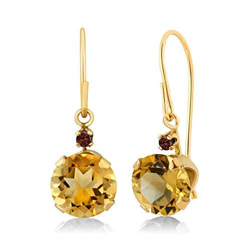 Garnet Citrine Earrings - 1.44 Ct Round Yellow Citrine Red Garnet 14K Yellow Gold Earrings