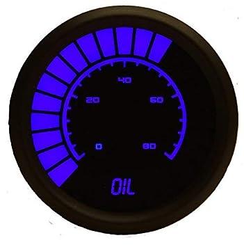 LED Analog Bargraph Oil Pressure Gauge in Black Bezel White Intellitronix Corp
