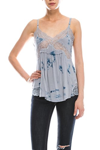 Women's V Neck Lace Tie-dyed Loose Lace Strap Tank Top (Small) (Tie Dyed Shirt)