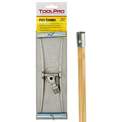- ToolPro Swivel Head Pole Sander with Male Head and Female Wood Handle Included