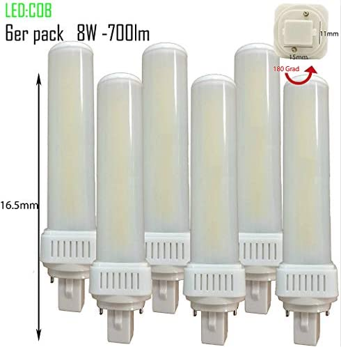 6 x LED G24d PL C pin2 Bombilla PL-C 4000 K 8 W universal G24d