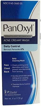 PanOxyl 4 Acne Creamy Wash, 4% Benzoyl Peroxide 6 oz (Pack of 3)