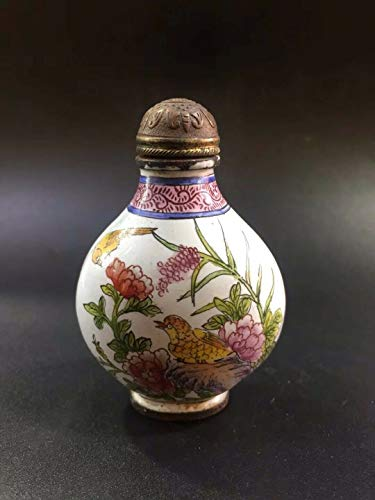 Chinese Cloisonne Hand-Painted Flower Bird Snuff Bottle ()