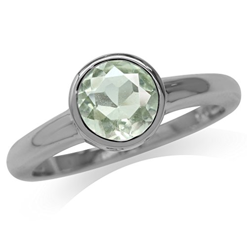 Green Amethyst Solitaire Ring (1.26ct. Natural Green Amethyst 925 Sterling Silver Solitaire Ring Size 9)