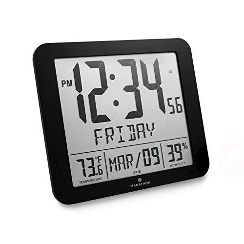 Slim Atomic Full Calendar Clock with Large 3.25