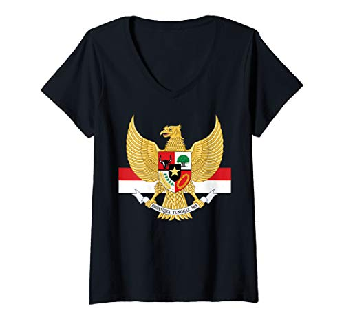 Womens National Eagle Emblem and Flag of Indonesia V-Neck T-Shirt