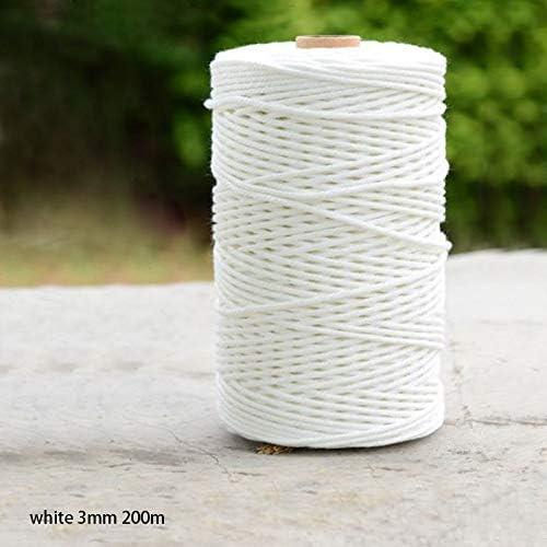 3mm Natural Beige Cotton Twisted Cord Rope Artisan Macrame String DIY Craft 200m