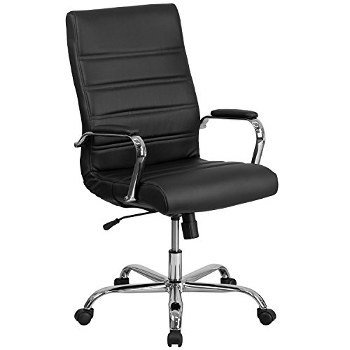 Flash Furniture High Back Black Leather Executive Swivel Chair with Chrome Base and Arms - Flash Furniture Black Leather