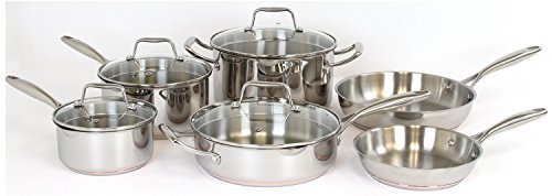 Oneida 10pc Stainless Steel Induction Ready Copper Base Cookware Set. Dishwasher Safe