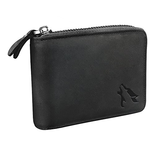 HEMWOLF Men's Real Genuine Leather RFID Blocking Heavy-Duty Zip Around Bifold Wallet, Full Grain Leather Charcoal Black ()