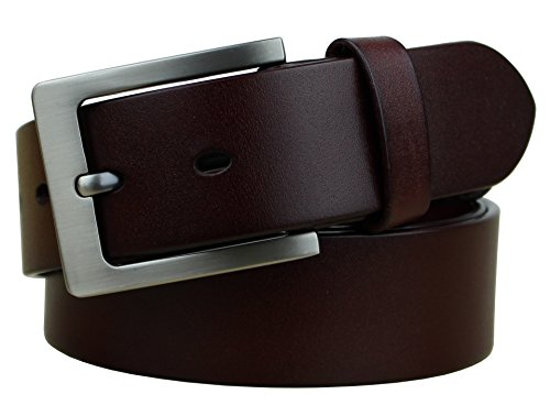 Classic Belt (Bullko Men's Dress Belt Classic Buckle Top Leather Belts Red Brown Size)