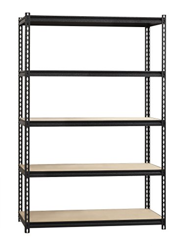 Space Solutions 21697 Rivet Shelving Unit, 5 Shelf, 72''H X 48''W x 24''D, Black by Space Solutions