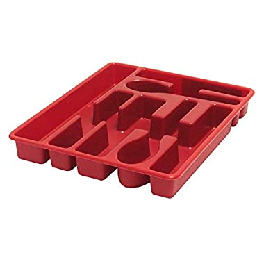 United Solutions BA0018 Cutlery Tray and Utensil Organizer, Red