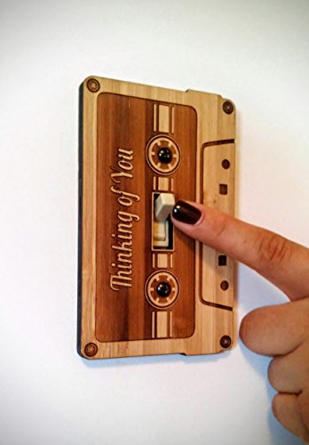 "Light Switch Cover - Cassette Tape Switch Plate Wall art / Home Decor ""Thinking of You"""