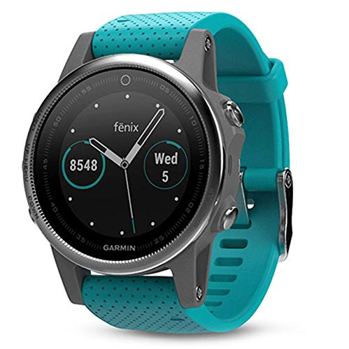 Garmin Fenix 5S Silver with Turquoise Band, One Size