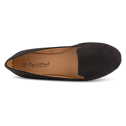 Twisted Womens Faux Suede Smoking Slipper Flats - SARA125 Black, Size 7 by Twisted (Image #2)