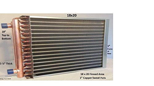 18x20 Water to Air Heat Exchanger 1'' Copper Ports with install kit by Badgerpipe