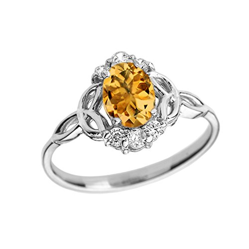 Elegant 14k White Gold Diamond Trinity Knot Proposal Ring with Genuine Citrine (Size 6.75)