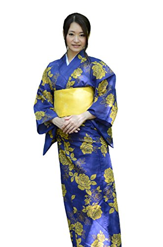 sakura Women Japanese Yukata Pre tied obi belt set with sandals / Indigo yellow rose pattern by Sakura