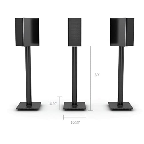 Atlantic Adjustable Speaker Stands 2-Pack Black – Steel Construction, Pedestal Style & Wire Management for Bookshelf…