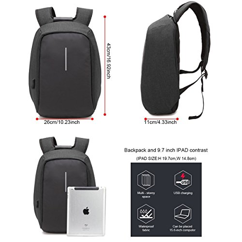 Business with Compartment College with Zipper USB Travel Backpack Hidden Anti Bag Lightweight and Men Laptop Charging for Daypack Women Waterproof thief Port Black ONENICE wEU6aqX
