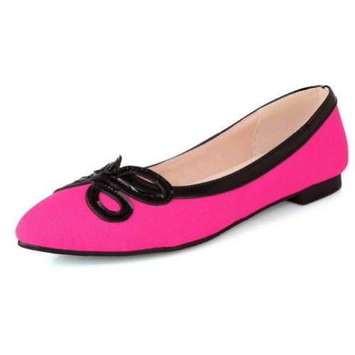 VogueZone009 Womens Closed Pointed Toe Frosted Solid Flats Red vGmWKHLQ