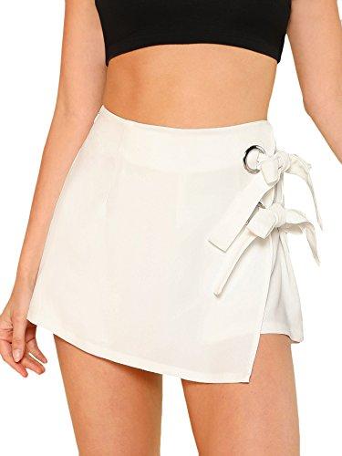 WDIRARA Women's Elegant Knot Side Overlap Zipper Fly Summer Casual Skirt Shorts White XS