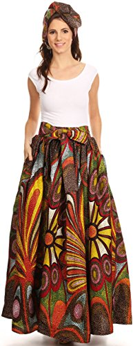 Sakkas 16317 - Asma Convertible Traditional Wax Print Adjustable Strap Maxi Skirt | Dress - 501-Multi - (Womens Jacket Skirt)
