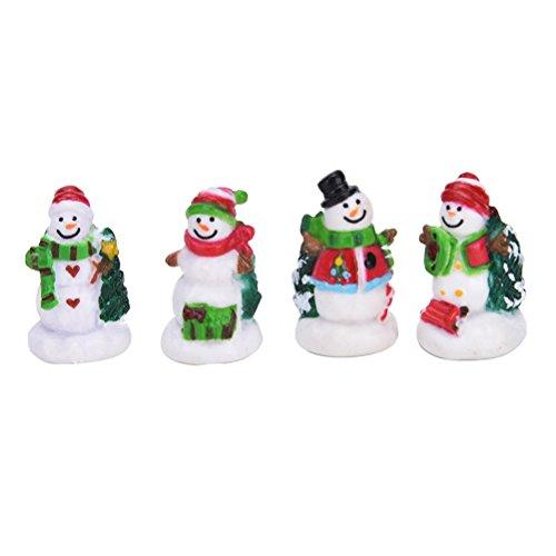 AOWA 4Pcs Miniature Christmas Snowman Fairy Micro Garden Landscape Craft Dollhouse Decor Christmas Micro Landscape Decor