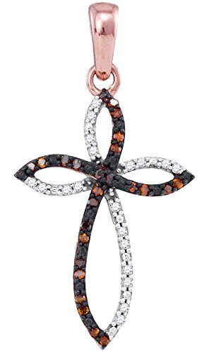 Oval Round Cross - 10kt Rose Gold Womens Round Red Color Enhanced Diamond Oval Cross Outline Pendant 1/10 Cttw