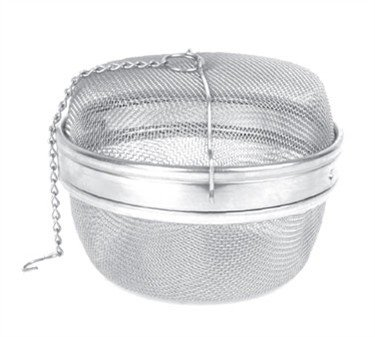 Tea Strainer, 5-1/4'' Dia., Stainless Steel Tea Ball With Chain & Mesh Lining (6 Pieces/Unit) by Thunder Group