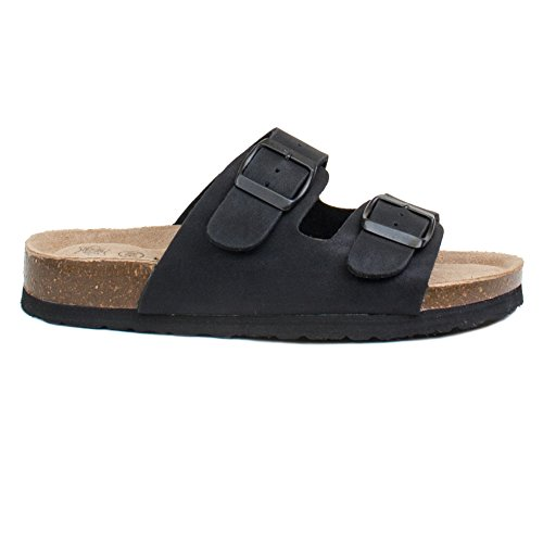 Women's Double Strap Genuine Leather Footbed Insole Flat (Arizona Slides)