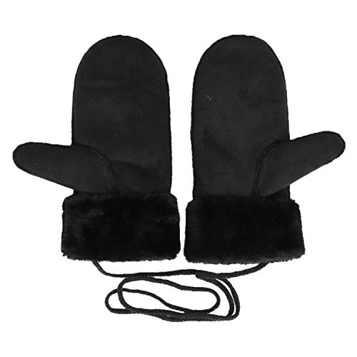 Unisex Sheepskin Shearling Mitten Winter Faux Fur Warm Thermal Gloves Hanging Neck Outdoor Windproof Snow Cycling ()